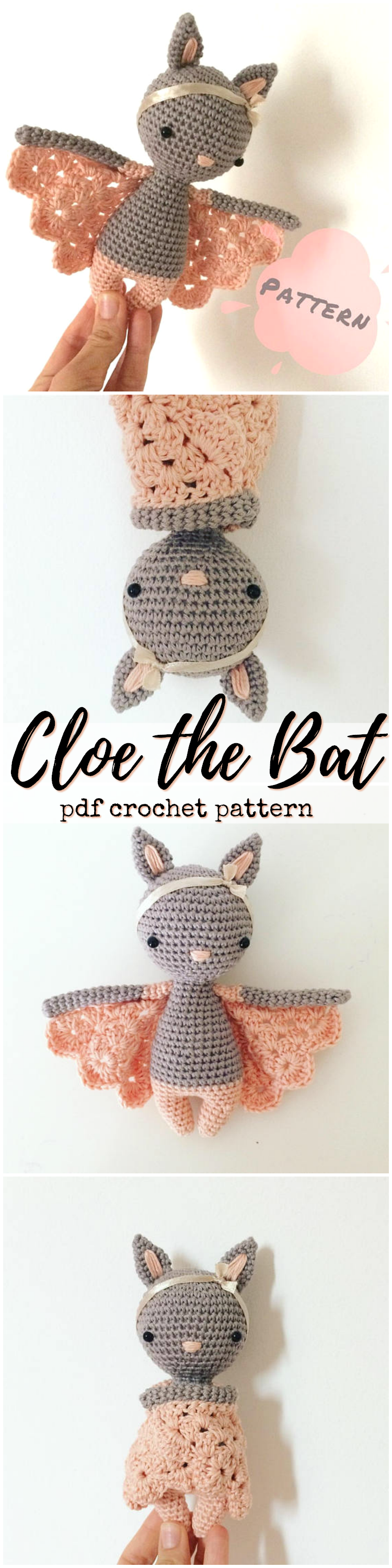 Cloe the bat doll crochet pattern! What a fun amigurumi toy crochet pattern to make! A sweet little bat doll! So unique. would make a great toy any child would love. Beautiful step by step instructions to make your own stuffed toy! #etsy #ad #halloween