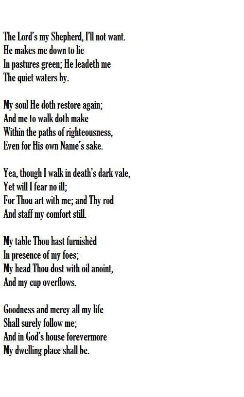 The Lord S My Shepherd Words Scottish Psalter 1650 Music Crimond Jessie S Irvine 1872 Psalms Of David Words Of Wisdom Words