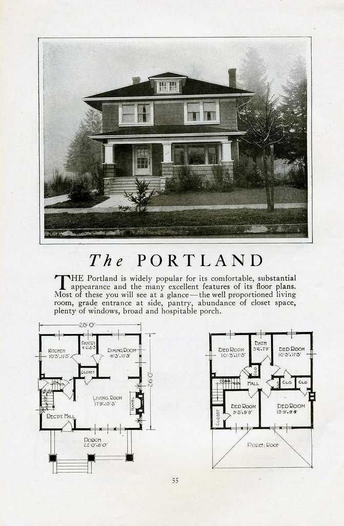 1925 Lewis Built Catalog Homes The Portland Square House Plans Four Square Homes House Plans