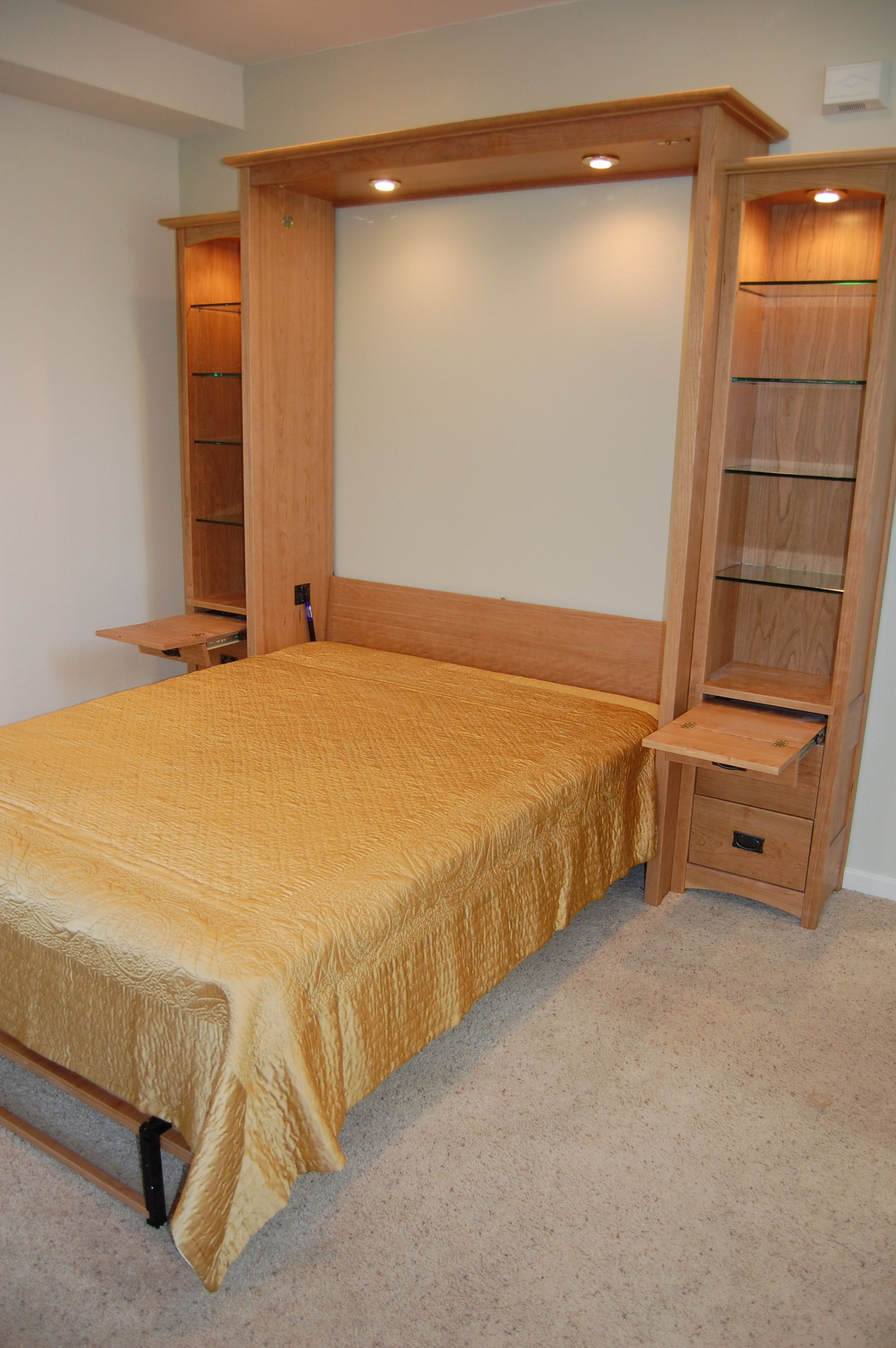 Retractable Tables craftsman style wallbed (murphy bed) with hidden retractable