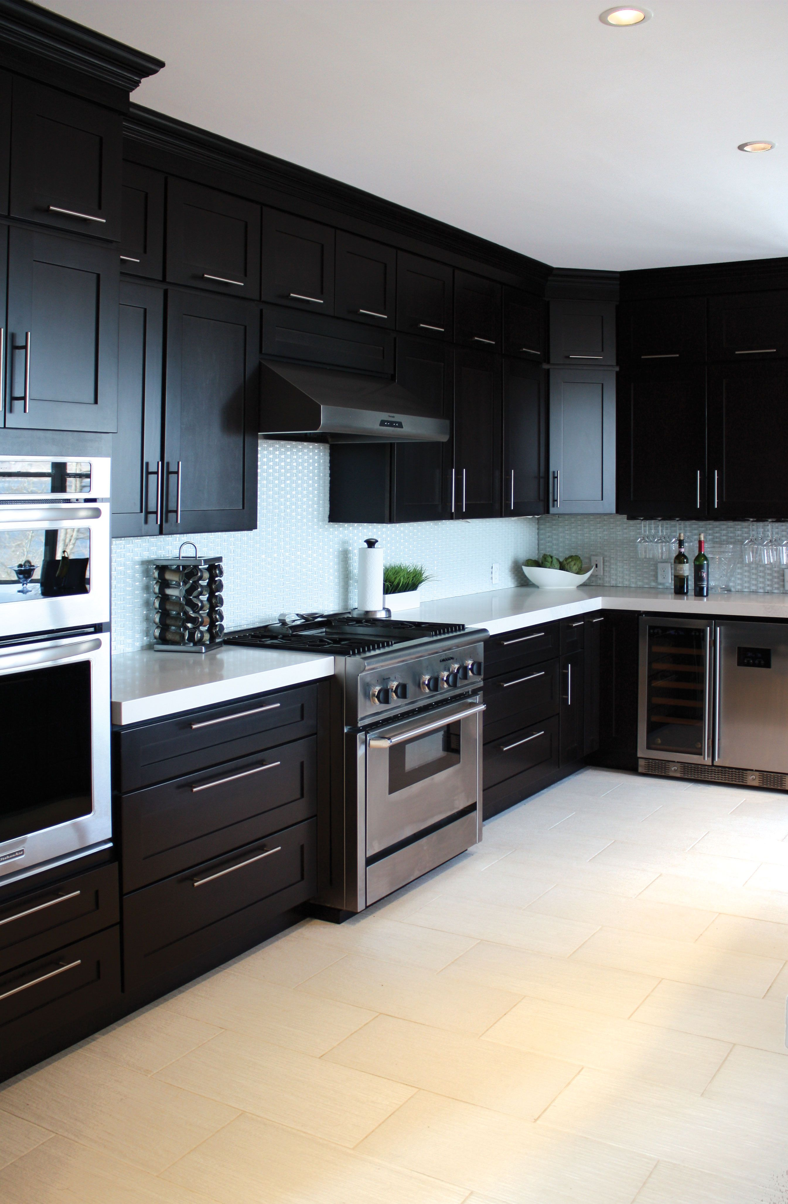Full Overlay Stacked Maple Cabinets With Calcatta Nuvo Ceasarstone Dark Kitchen Kitchen Design Espresso Kitchen Cabinets