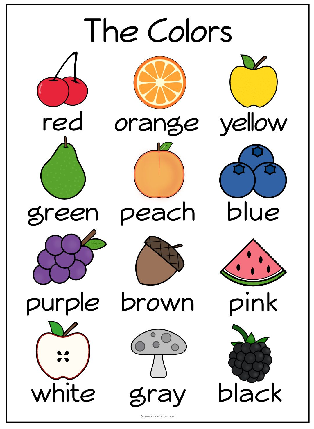 Colors In English With Fruit