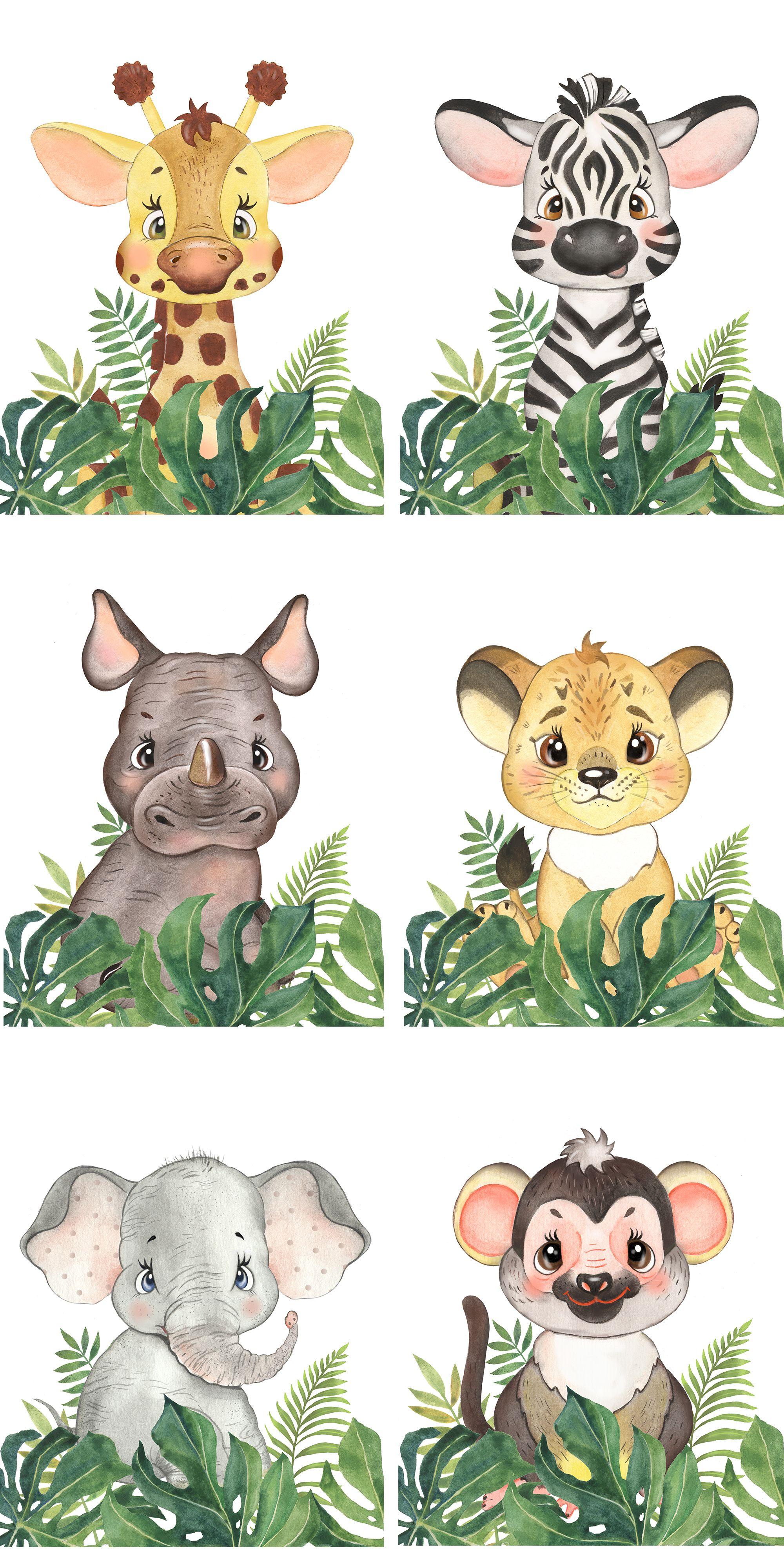 Set Of 6 Safari Animal Nursery Wall Decor Baby Nursery Etsy In 2021 Safari Animals Baby Shower Safari Baby Animals Safari Animals Nursery