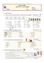 English Worksheets: Grammar Formative TEST for Advanced