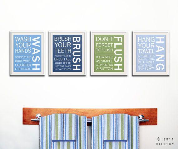 Kids Bathroom Decor Bathroom Art Bathroom Prints Bathroom Rules