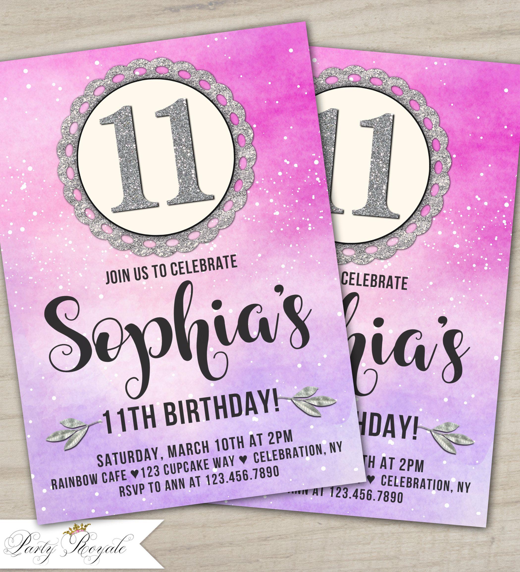 printable 11th birthday invitations 11th birthday party invites for