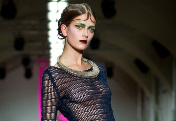 Collar-style neck adornment on the AW12 Fyodor Golan catwalk at London Fashion Week. (Getty)