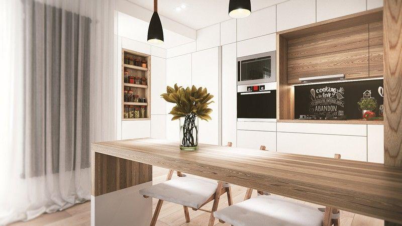 Natúr fa étkezőasztal és fehér skandináv konyhabútor ...