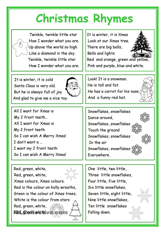 Christmas Rhymes Christmas Worksheets Christmas Poems English Rhymes [ 1440 x 1018 Pixel ]