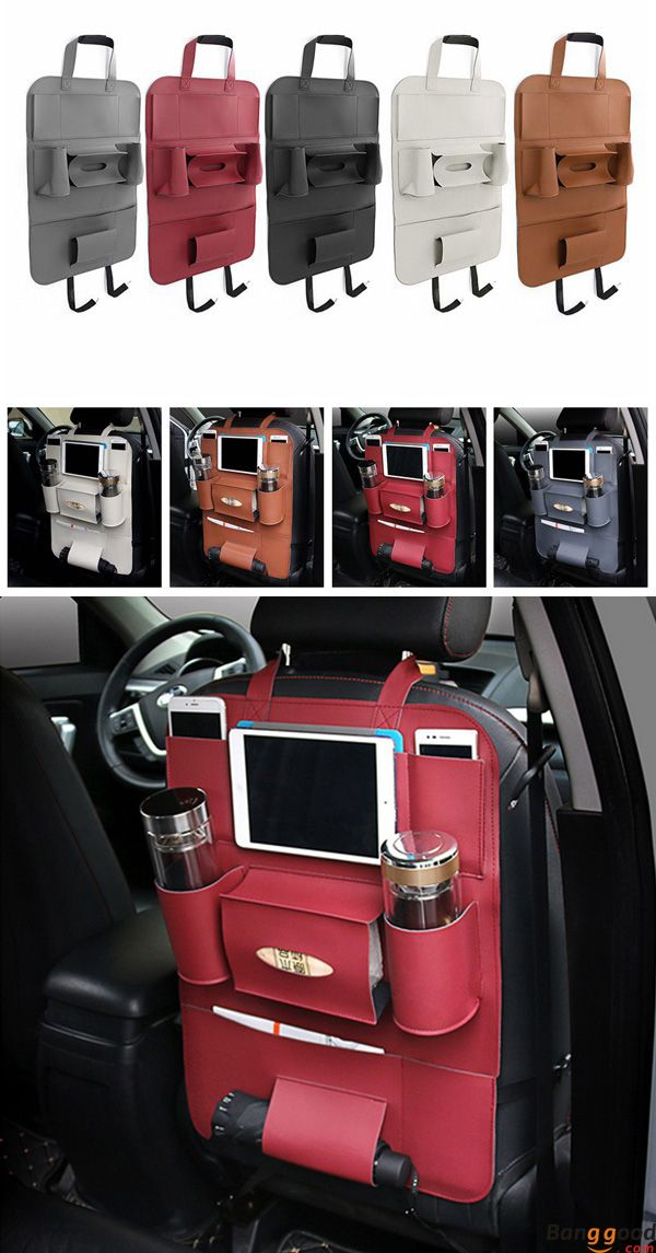 Multi-functional PU Leather Car Back Seat Storage Bag Multi Pocket ...