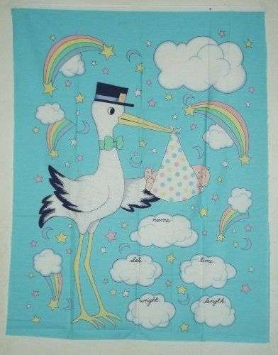 "Stork Bringing Baby 100% Cotton Fabric Panel (Makes A Cute Baby Blanket Approx. Size: 35"" x 45"") Unknown,http://www.amazon.com/dp/B00KEBBH20/ref=cm_sw_r_pi_dp_xP8Dtb16AH4KC7WT"
