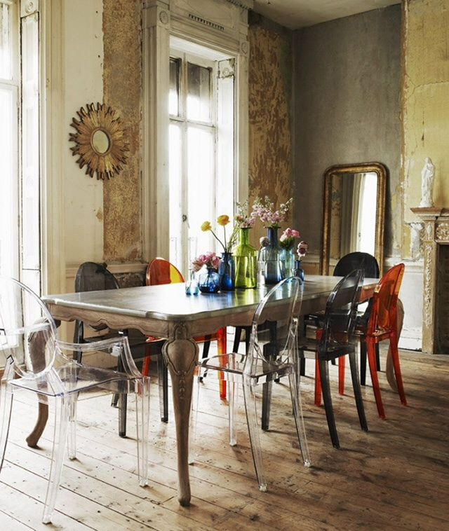 The Modern Ghost Chair Works With The Classic Dining Tablecould Inspiration Eclectic Dining Room Sets Design Decoration