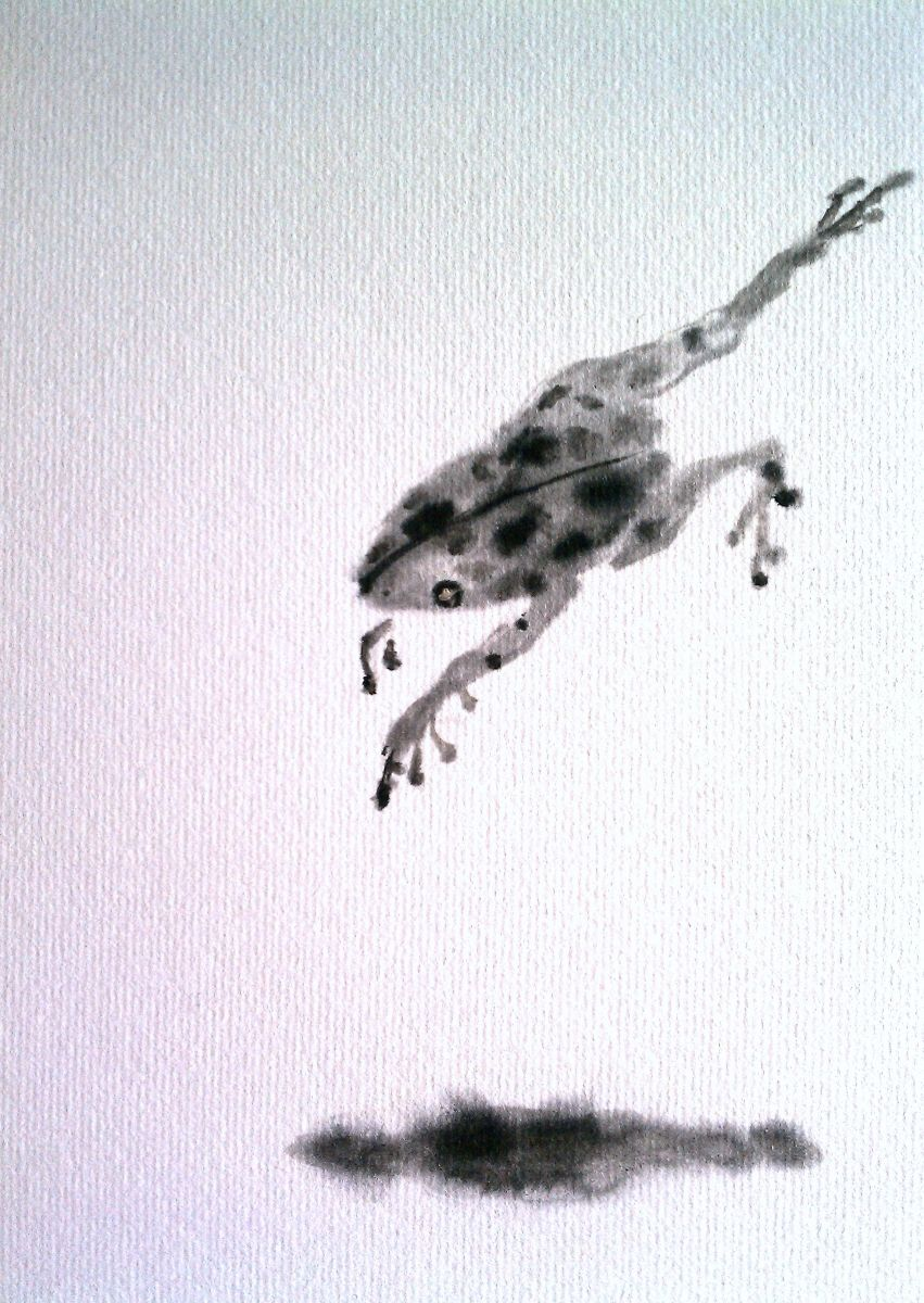 Detail from my Nature Series.  Chinese ink on shikishi.  Original artwork by Lisa Chakrabarti, Fine Artist