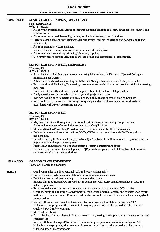 Resume for Lab Technician Lovely Senior Lab Technician