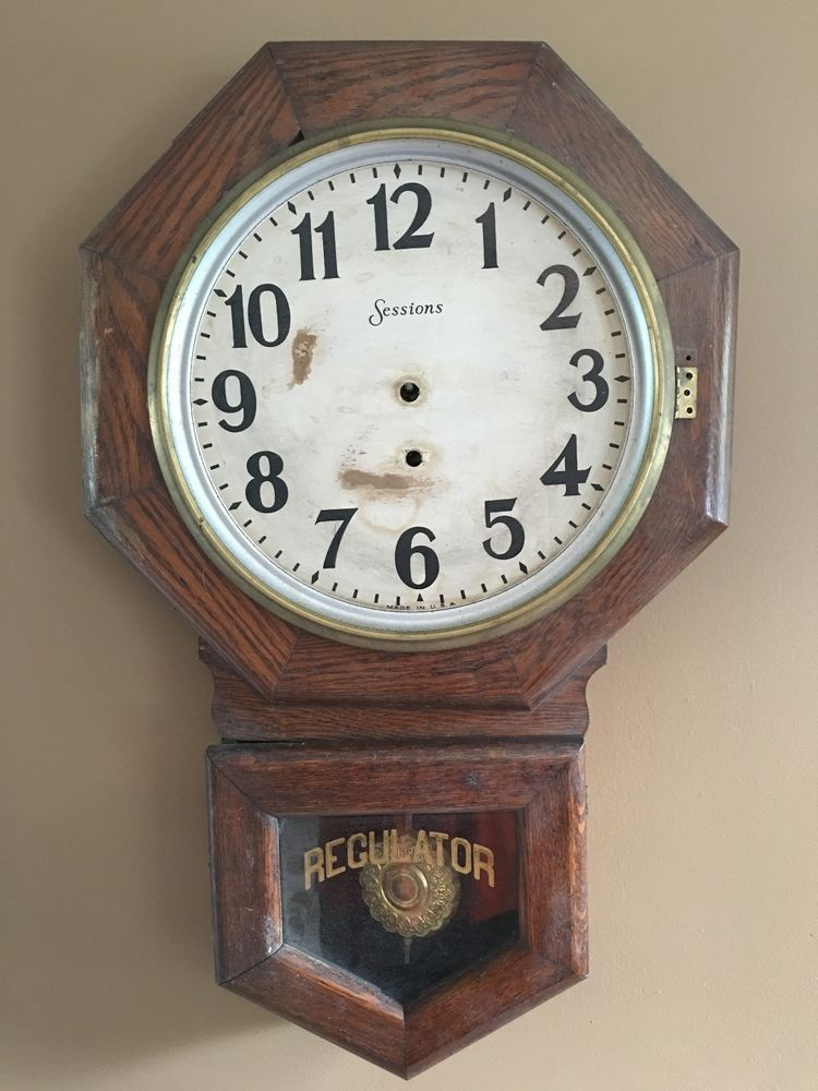 Antique Sessions Regulator Octagon Wall Clock School House