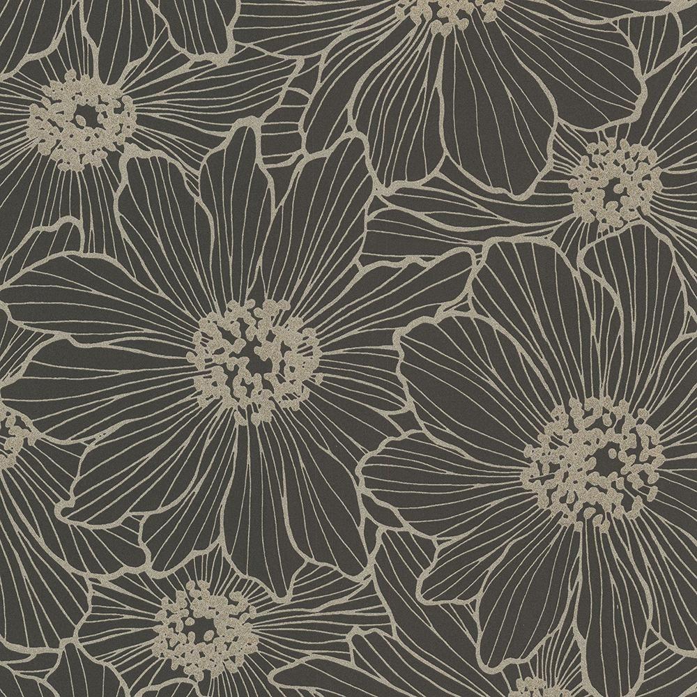 Advantage 8 In X 10 In Vivienne Black Floral Wallpaper Sample In