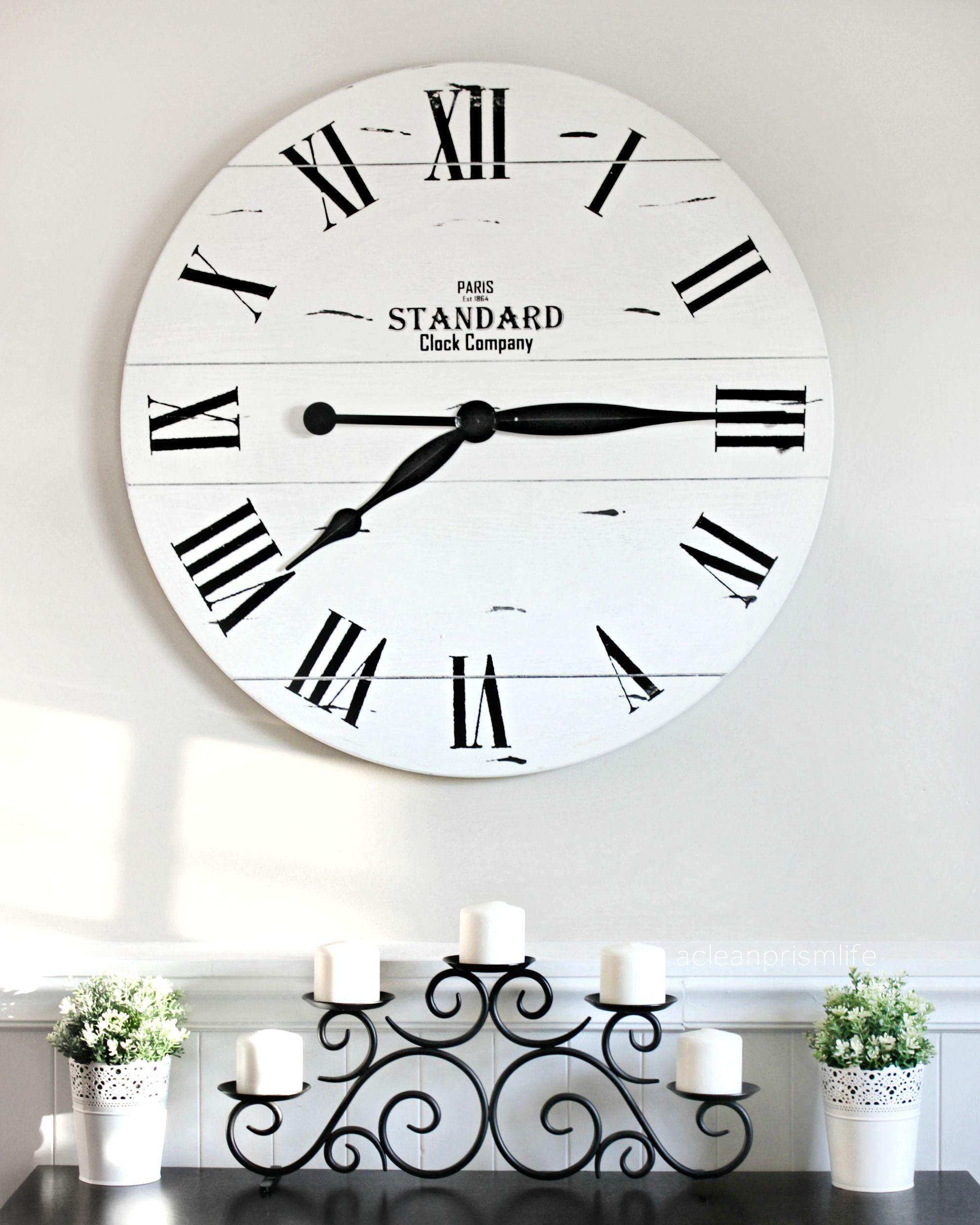 Kirklands Clock Shiplap Black White Decor Farmhouse Style Big
