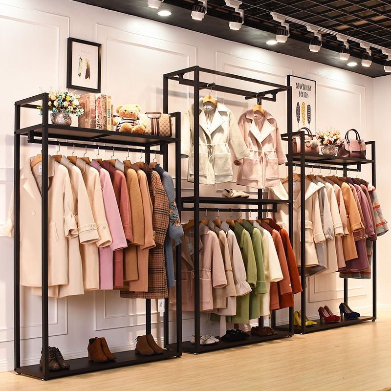 Wholesale Freestanding Clothing Garment Rack With Shelves Boutique Store Fixtures Ma Clothing Store Interior Store Design Boutique Boutique Clothing Displays