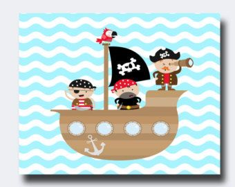 Pirate Nursery Art Print Baby Boy Nursery Art Suits Blue