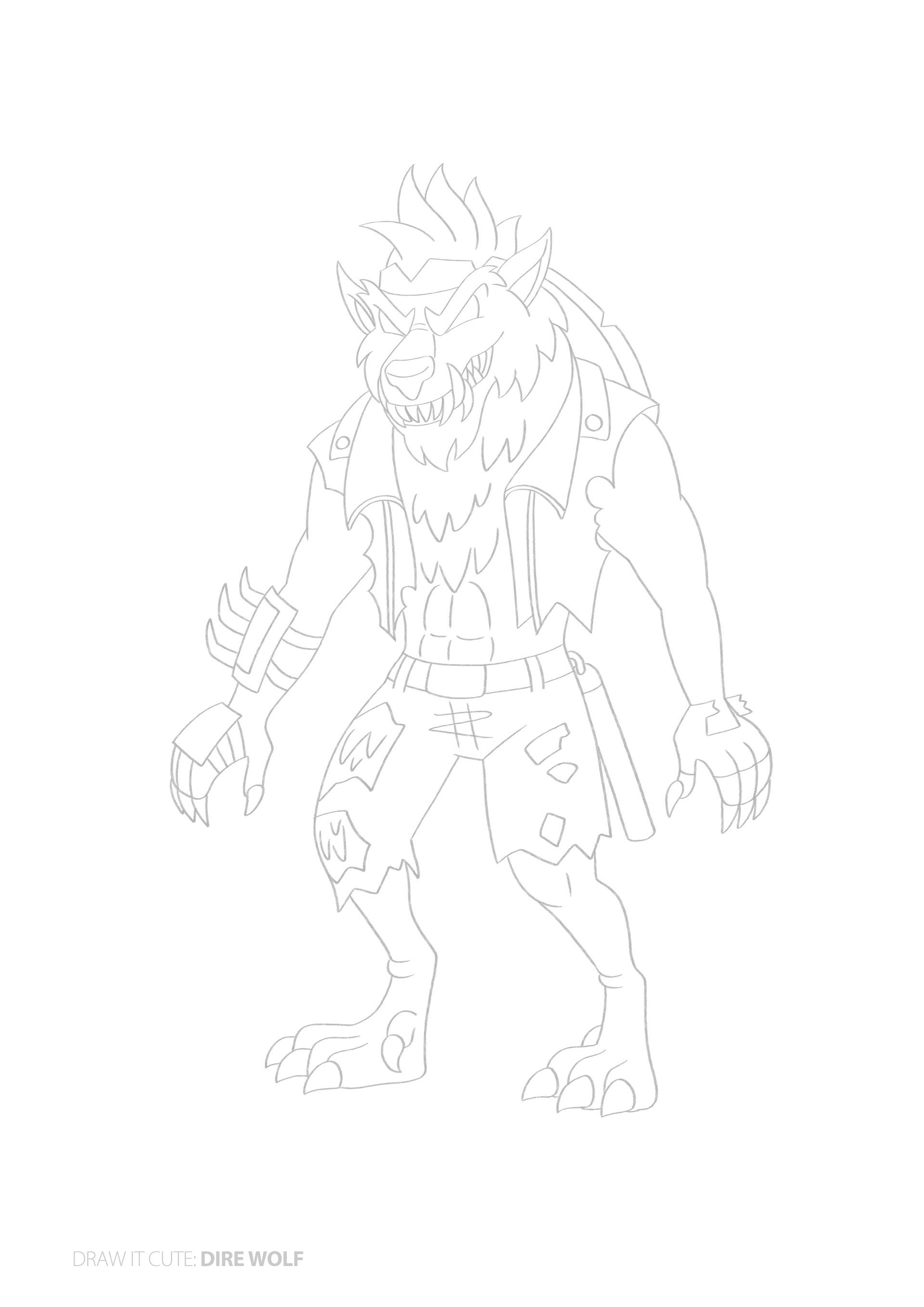 How to draw Dire Wolf easy. Fortnite character skin on ...