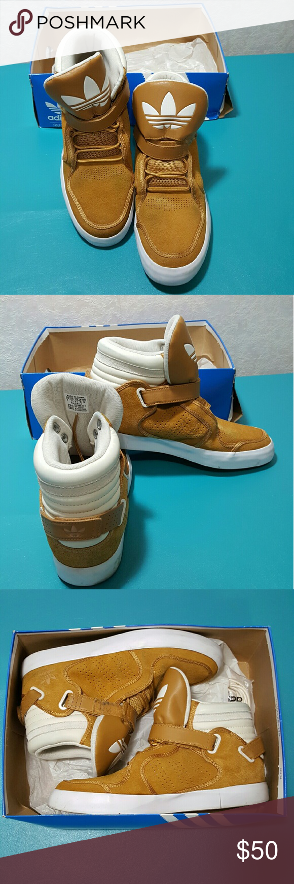 ¡Adidas hacer oferta!¡!!¡!!Tan y blanco Suede High Top Adidas adidas
