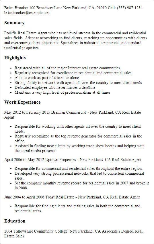 Real Estate Agent Job Description For Resume Favored Real
