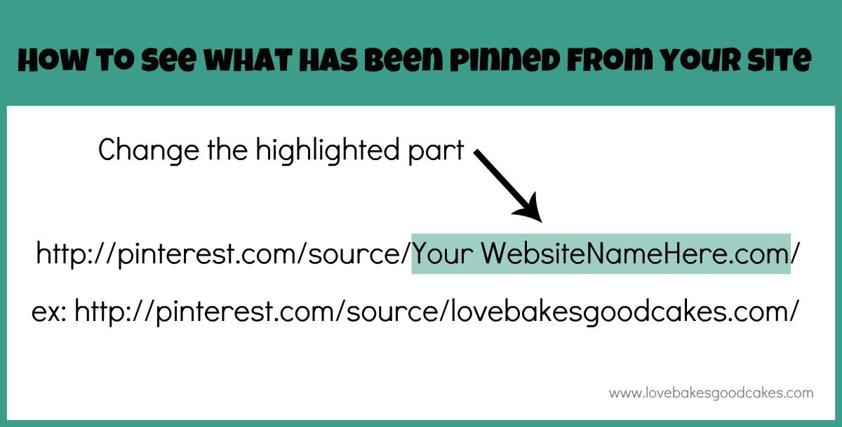 Love Bakes Good Cakes: How to see what has been pinned from your site