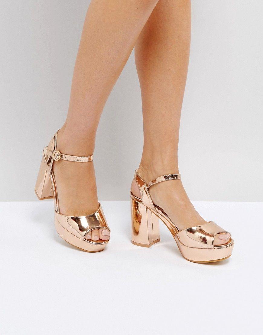 dd9d93701 Truffle Collection Metallic Platform Heeled Sandal – Copper | Heeled ...
