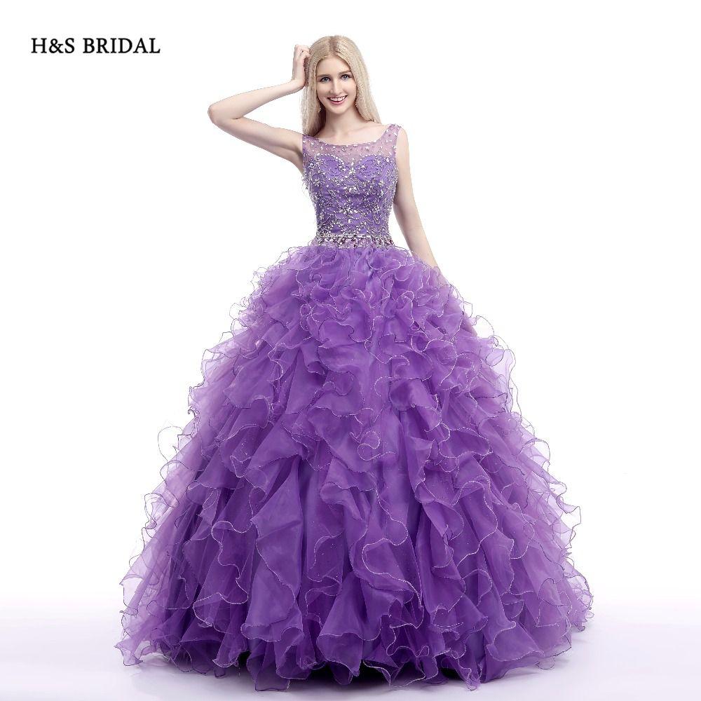 Click to buy ucuc hus bridal purple organza luxury sequins quinceanera