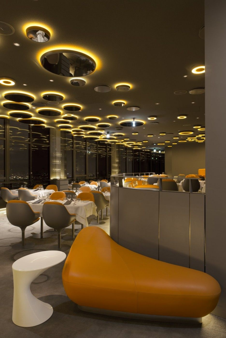 Pretty ciel de paris interior restaurant design with modern lounge furniture used yellow leather and white lacquered table furniture design ideas