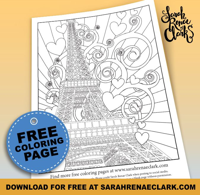 Love Paris  Free Adult Coloring Page  Adult coloring
