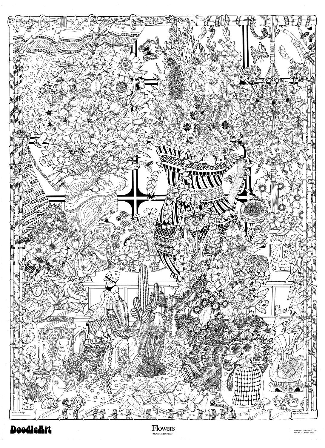 amazon: the original doodleart flowers coloring poster: toys