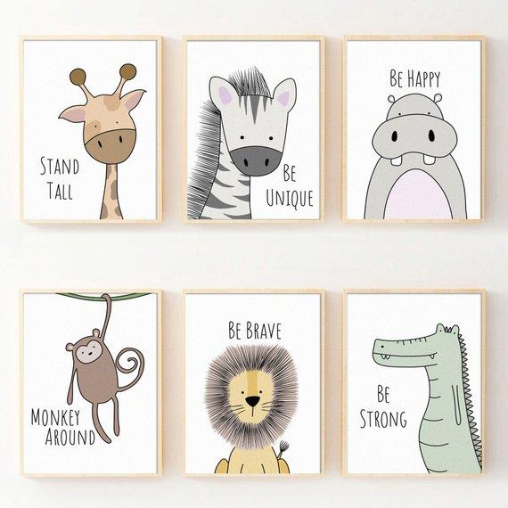 Set Of 6 Nursery Prints Safari Animals