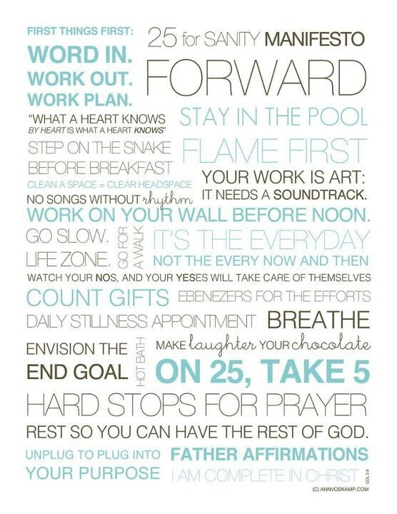 25 for Sanity MANIFESTO - love these daily habits for a more