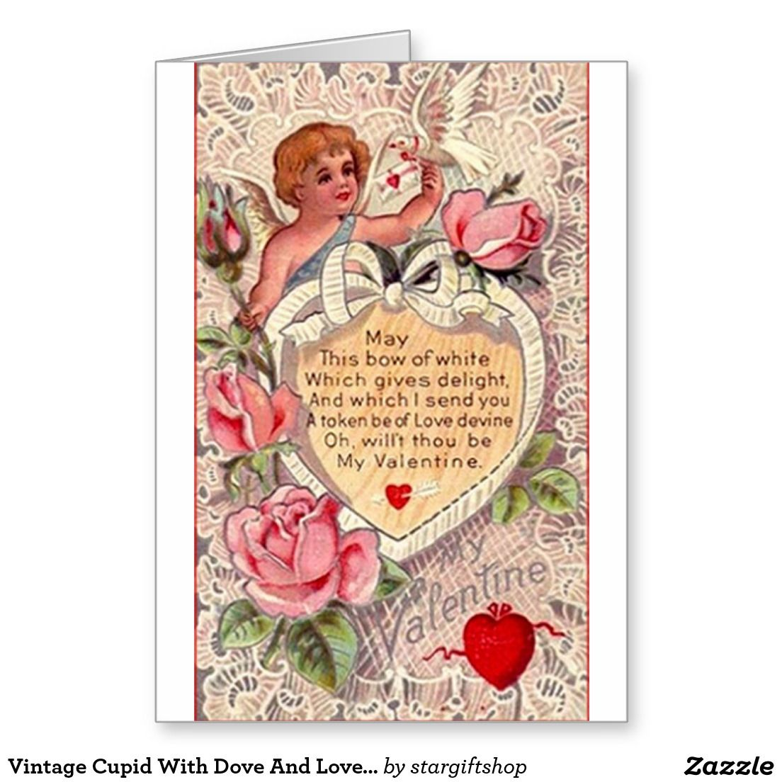 Vintage Cupid With Dove And Love Letter Greeting Card
