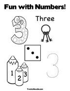 Number 3 Coloring Pages - Twisty Noodle | Birthday ...