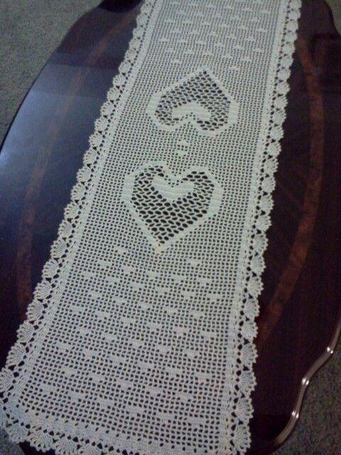 Heart Filet Crochet Table Runner For The Home Crochet