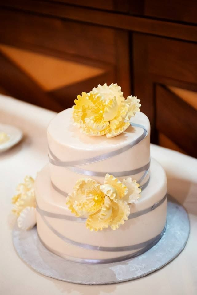 Pinterest inspired grey and yellow wedding cake. Small, two