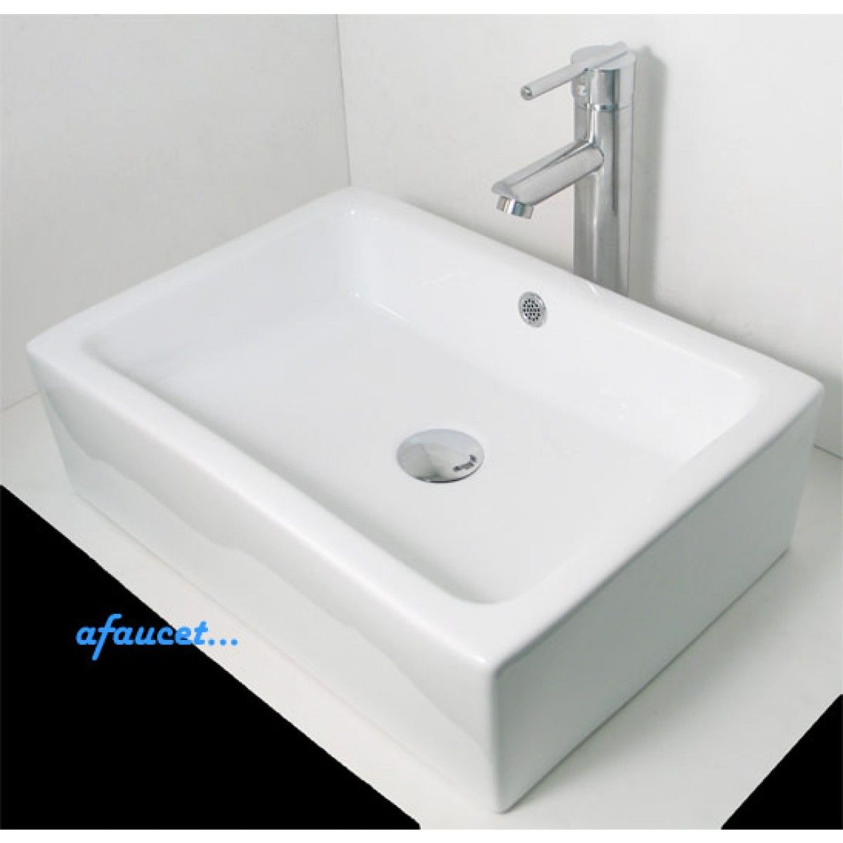 Rectangular Porcelain Ceramic White Black Bathroom Vessel Sink