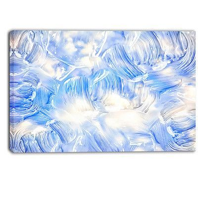 DesignArt 'Blue Abstract Pattern Oil Painting' Wall Art on Wrapped Canvas Size:
