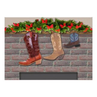 Cowboy Boot Stockings by the Fireplace Collection  If you enjoy the cowboy, ranch and western lifestyle then this image with cowboy boots hung carefully from the fireplace mantle is for you. Collection includes greeting cards, invitations,postage stamps,labels, stickers and more.