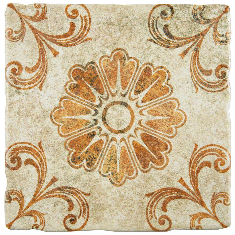Merola tile costa arena decor fleur 7 34 in x 7 34 in ceramic merola tile costa arena decor fleur 7 34 in x 7 dailygadgetfo Gallery