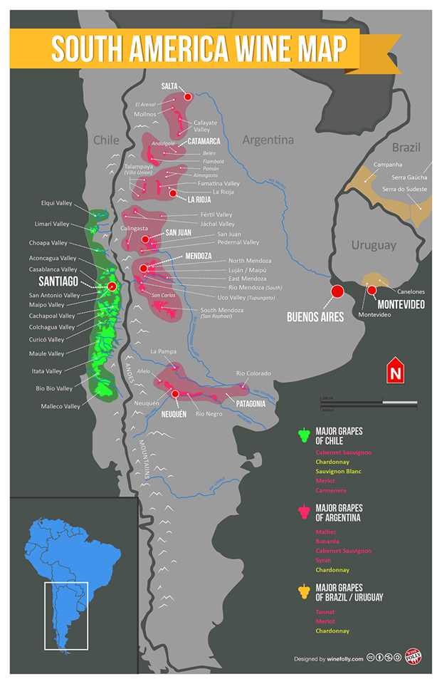South America Wine Map Because When You Finally Arrive In Chile - Argentina cape horn map