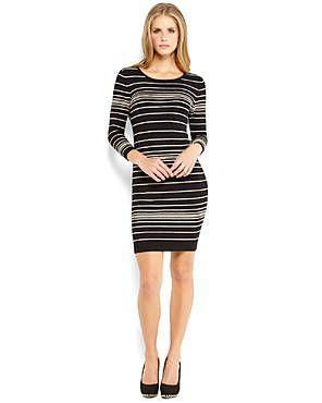 SIONI Black Piped Sweater Dress