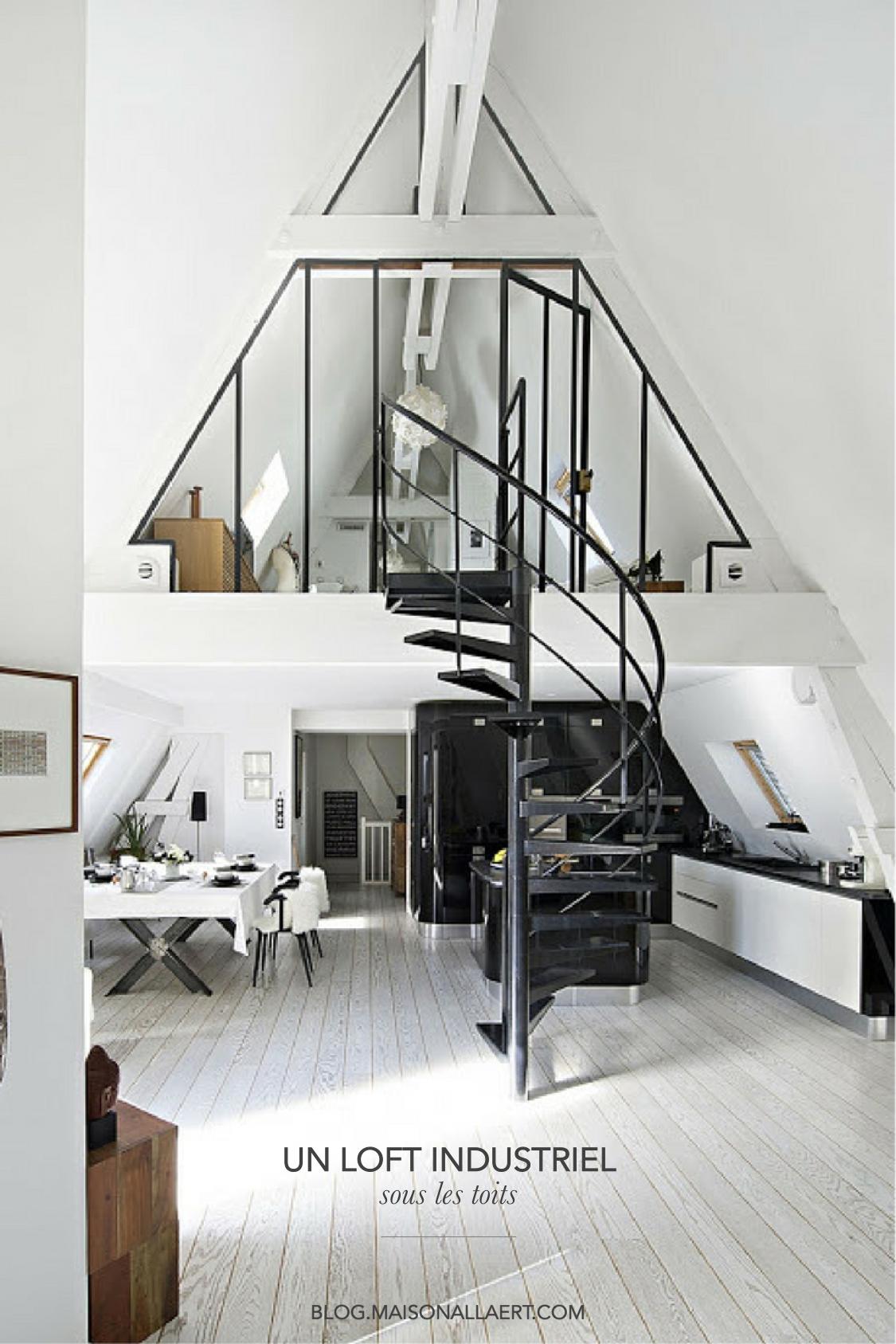 Un appartement sous les toits reconverti en loft industriel et ...