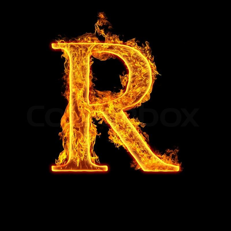 Stock image of 'Fire alphabet letter R isolated on black ...