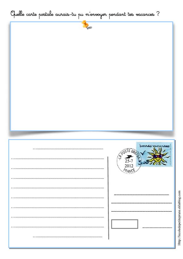 Carte postale (PDF) à illustrer et écrire. | Teaching french, French lessons, French classroom