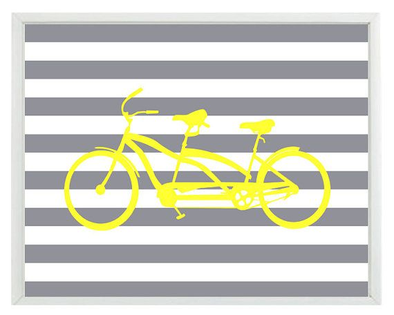 Bicycle Tandem Bike Wall Art Print Yellow Gray by RizzleandRugee