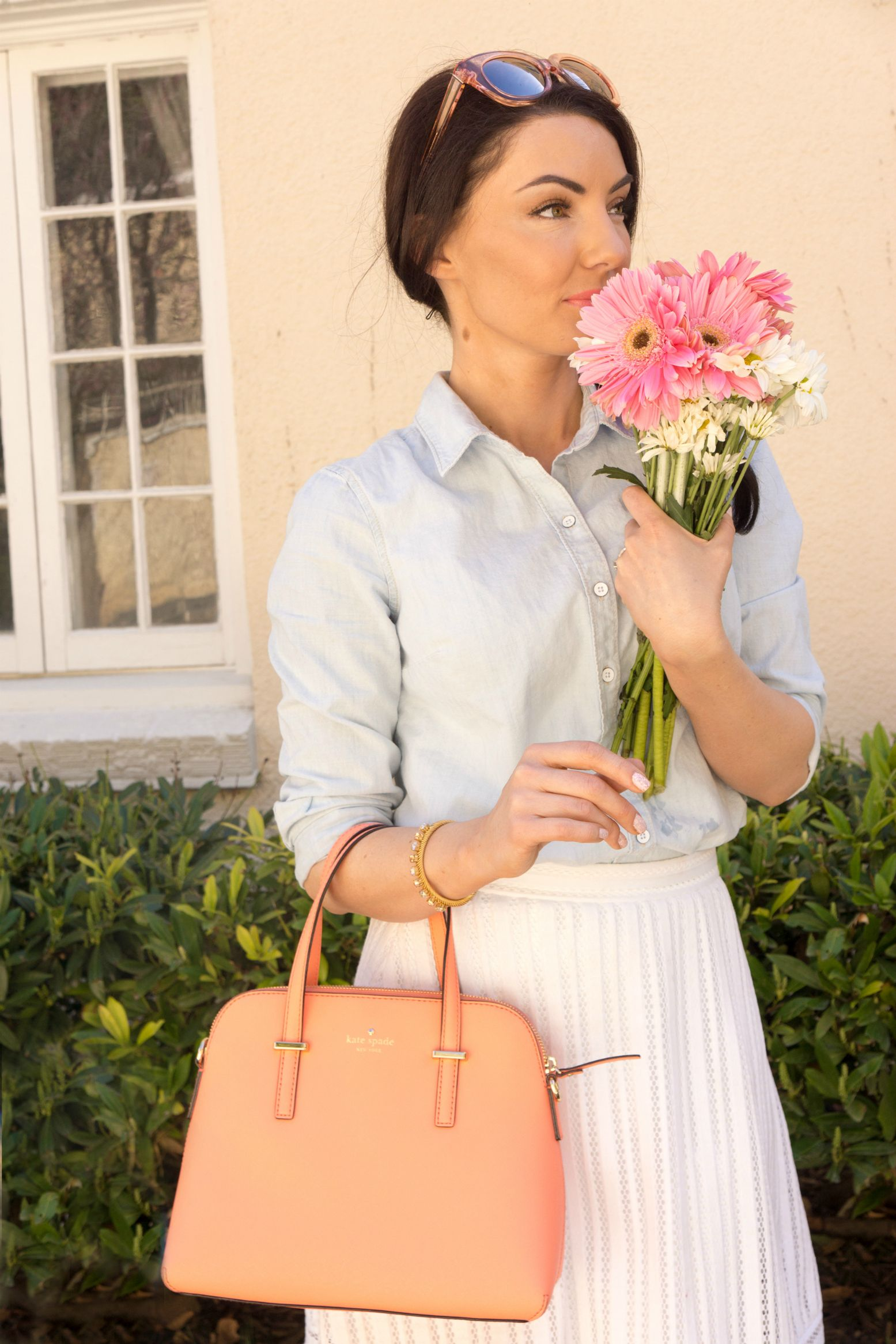 Kate Spade Cedar Street Maise and fresh Spring flowers, ladylike outfit and style