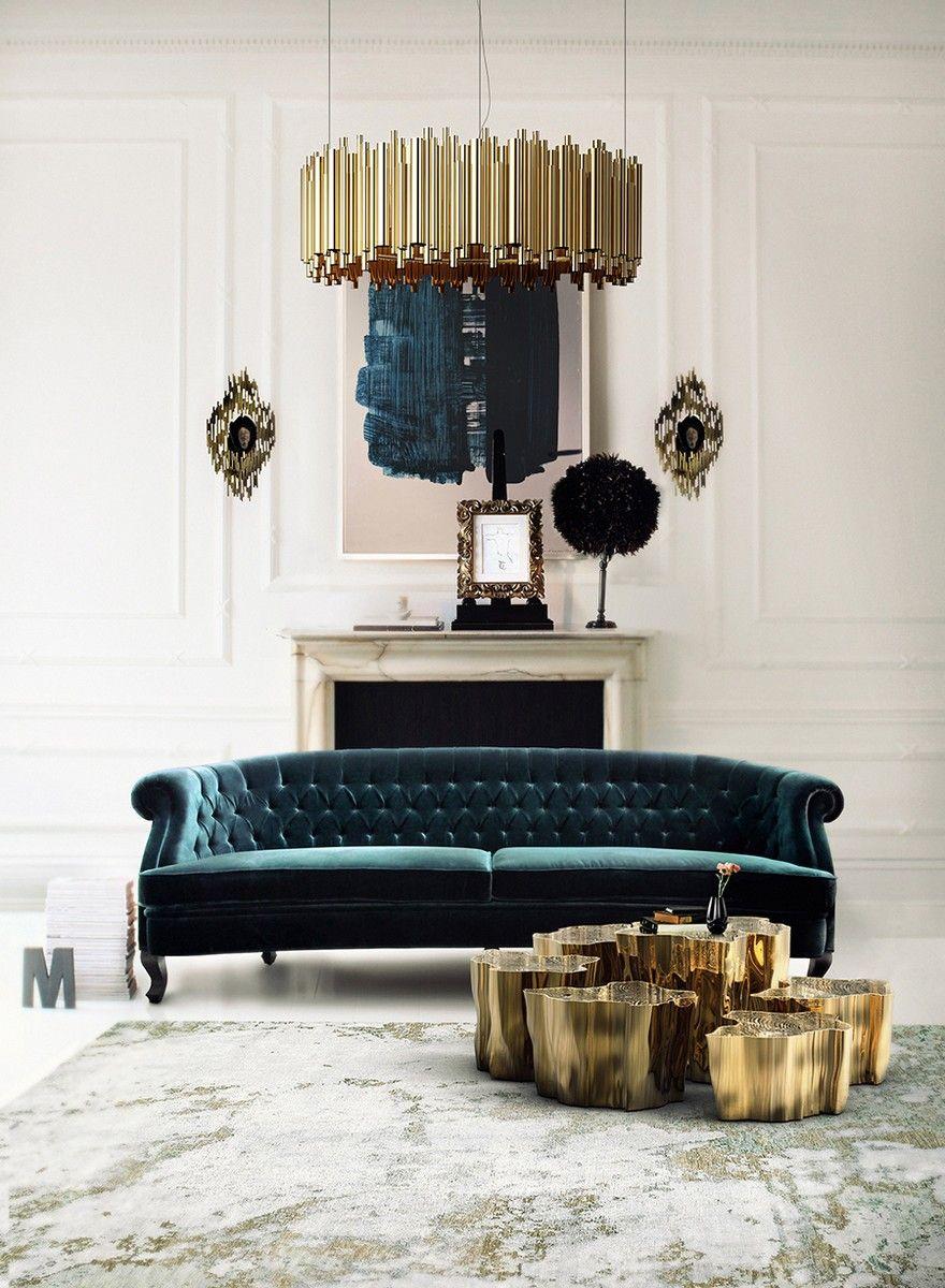 Velvet Sofa   Interior Design Inspiration   Accent Chair   #upholstery #velvet #velvetsofa Find more inspiration at: https://www.brabbu.com/en/inspiration-and-ideas/materials/trendiest-materials-home-decor-2017